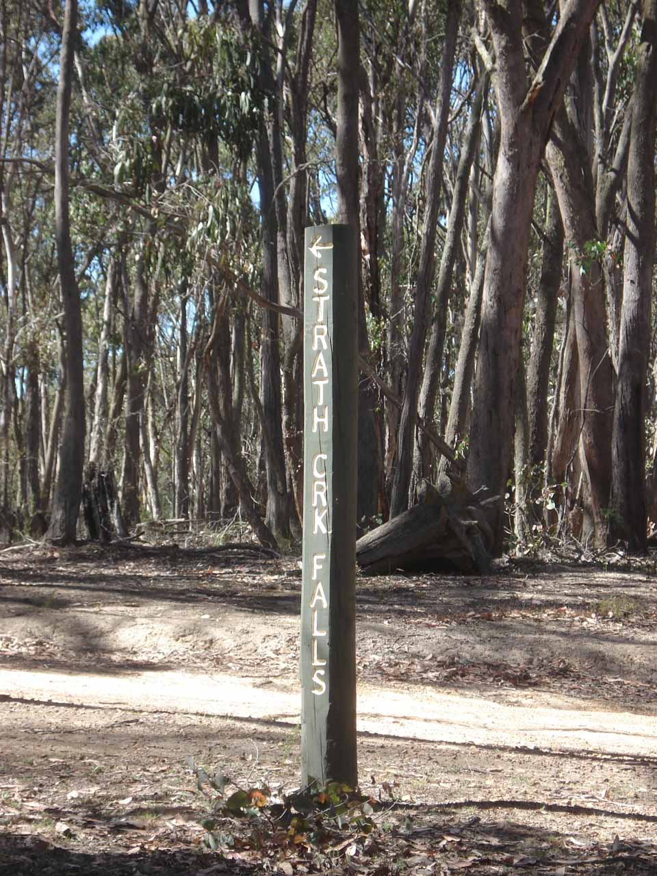A sign pointing the way towards Strath Creek Falls at the start of the one-way anticlockwise loop