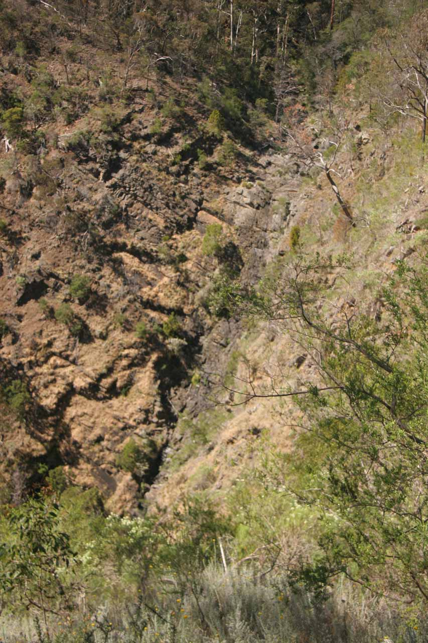 A closer look at the dry rock wall that was supposed to be Strath Creek Falls