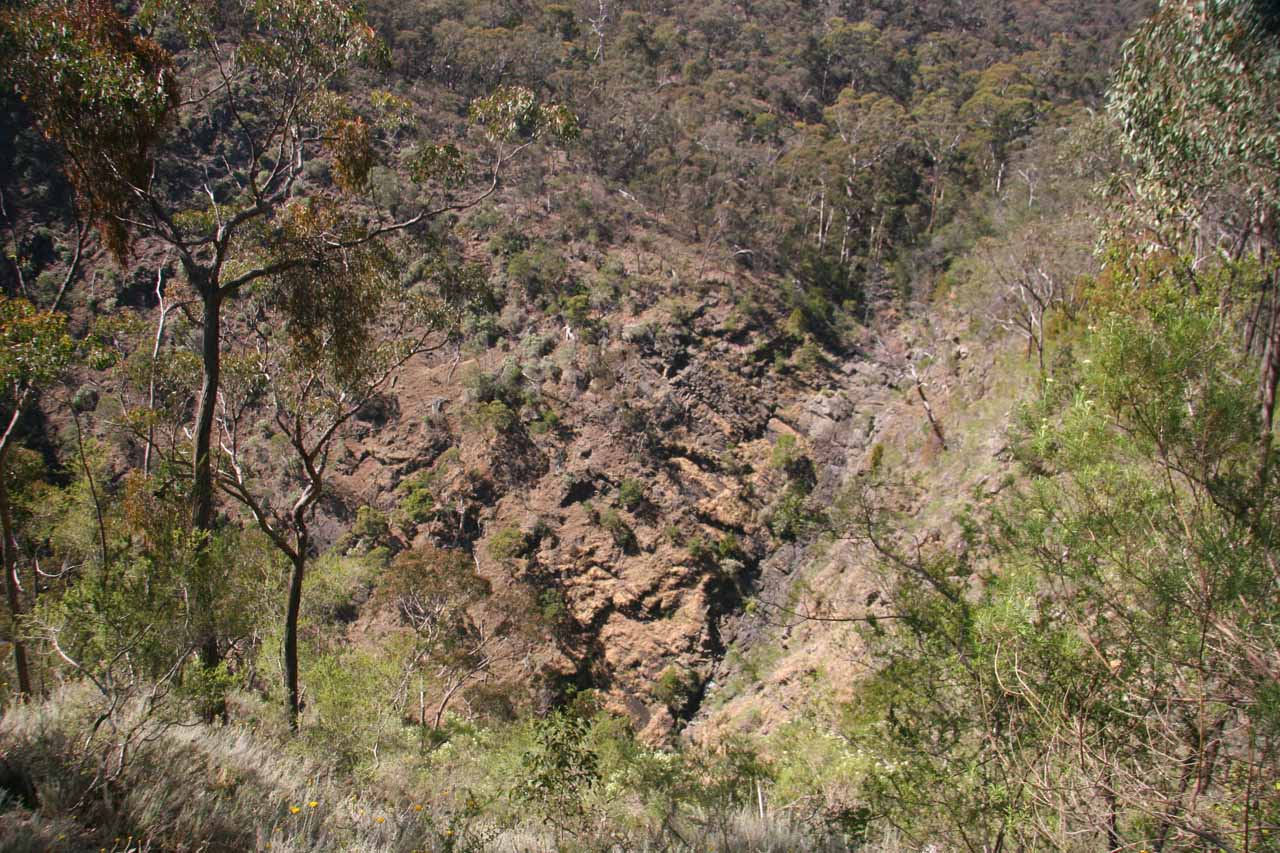 It took a while to figure out that this cliff wall was supposed to be where Strath Creek Falls ought to be flowing