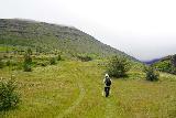 Strutsfoss_028_08112021 - Mom ascending the grassy trail as we approached the Villingadalur Valley alongside the Fellsá