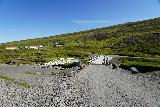 Studlagil_Canyon_003_08102021 - Approaching the footbridges over the Jökulsá á Brú River towards Stuðlagil Canyon. Notice the bridge on the left was the old steel bridge