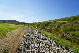 Studlagil_Canyon_100_08102021 - Tahia on the rocky trail through Klaustursel Farm leading closer to Studlagil Canyon