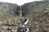 Studlagil_Canyon_278_08102021 - Straight up direct semi-long-exposed look at Studlafoss as I stood at its base