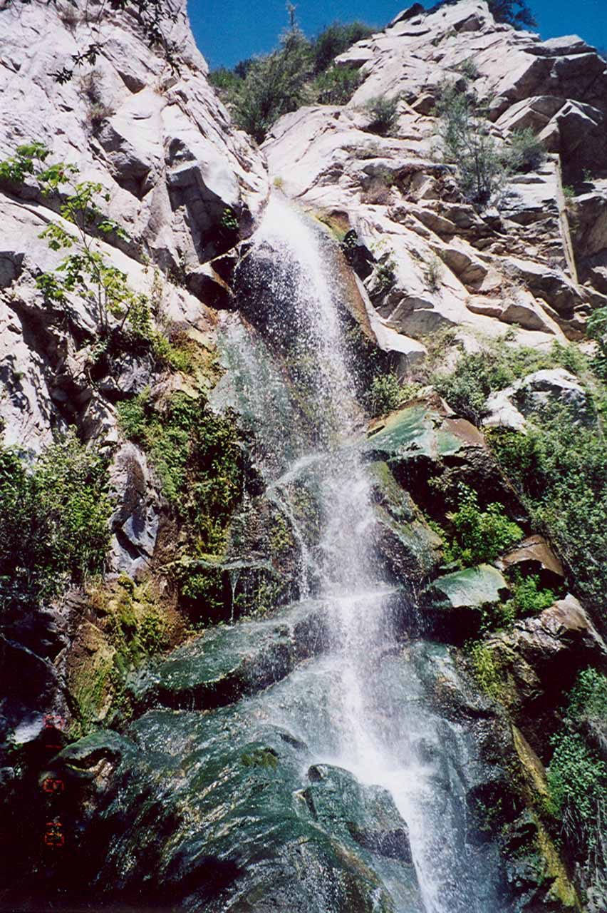 Looking up towards the top of Sturtevant Falls from back on our first visit here in 2001