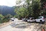 Sturtevant_Falls_009_05272019 - Looking back at lots of cars parked alongside the road to Chantry Flat.  Some cars were severely tilted on embankments