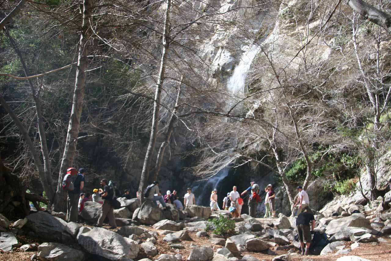The busy base of Sturtevant Falls