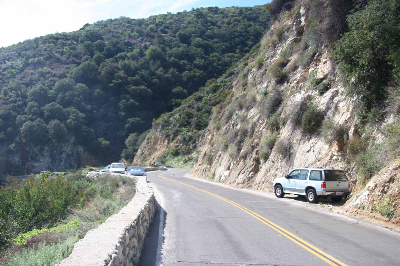 Looking for a place to park along the winding mountain road since the car since the main lot was full