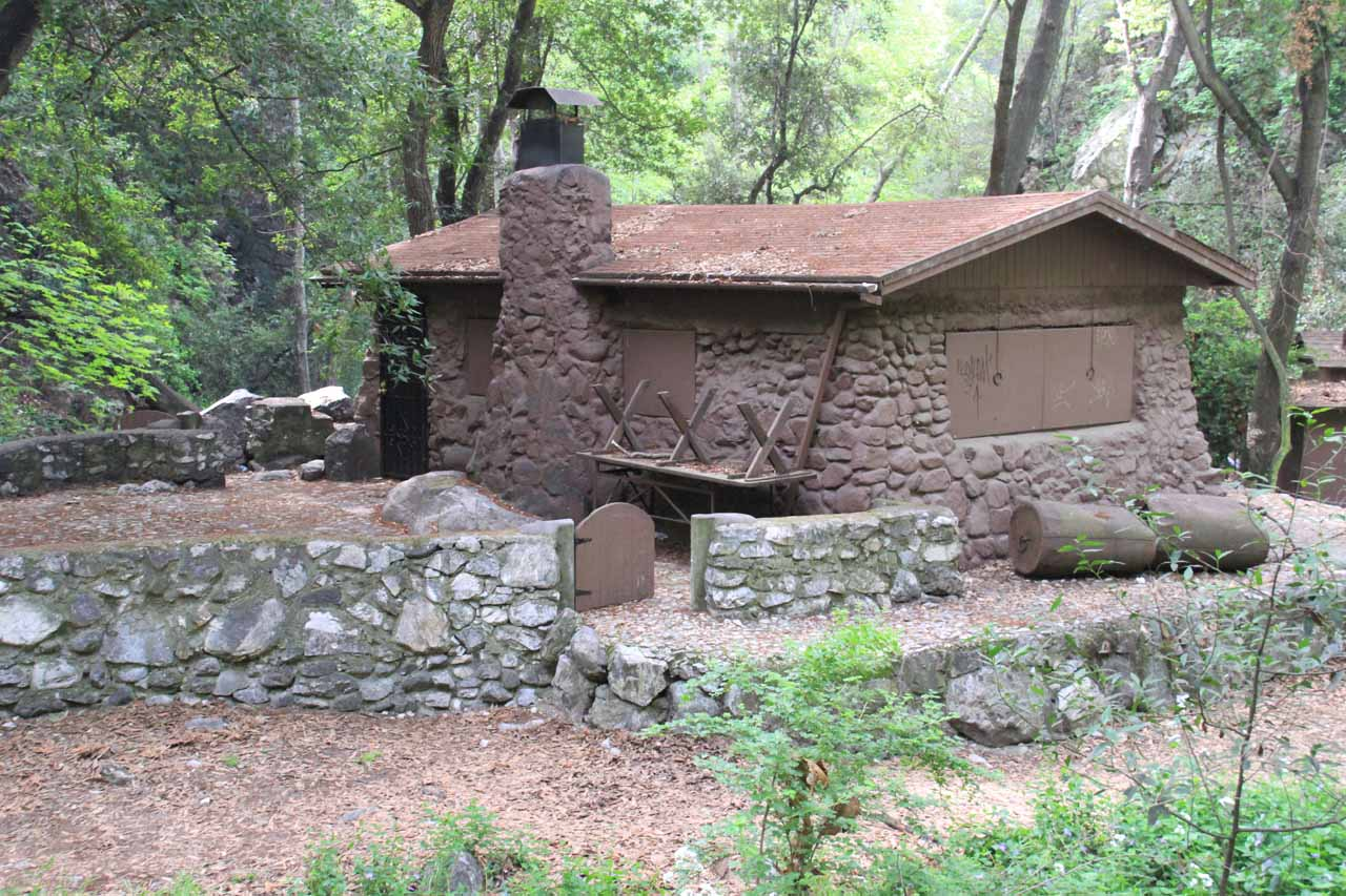 One of the attractive and idyllic log cabins flanking the Gabrielino Trail