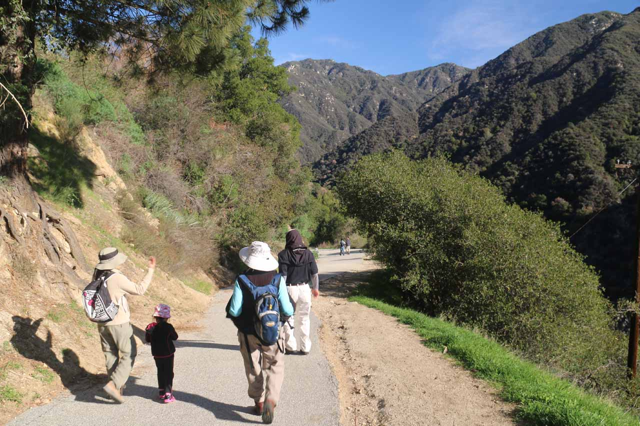 The family making their way down into Big Santa Anita Canyon