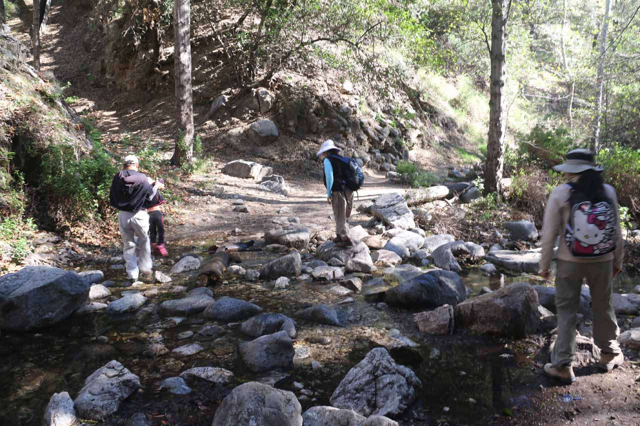 Going back across the familiar creek crossings