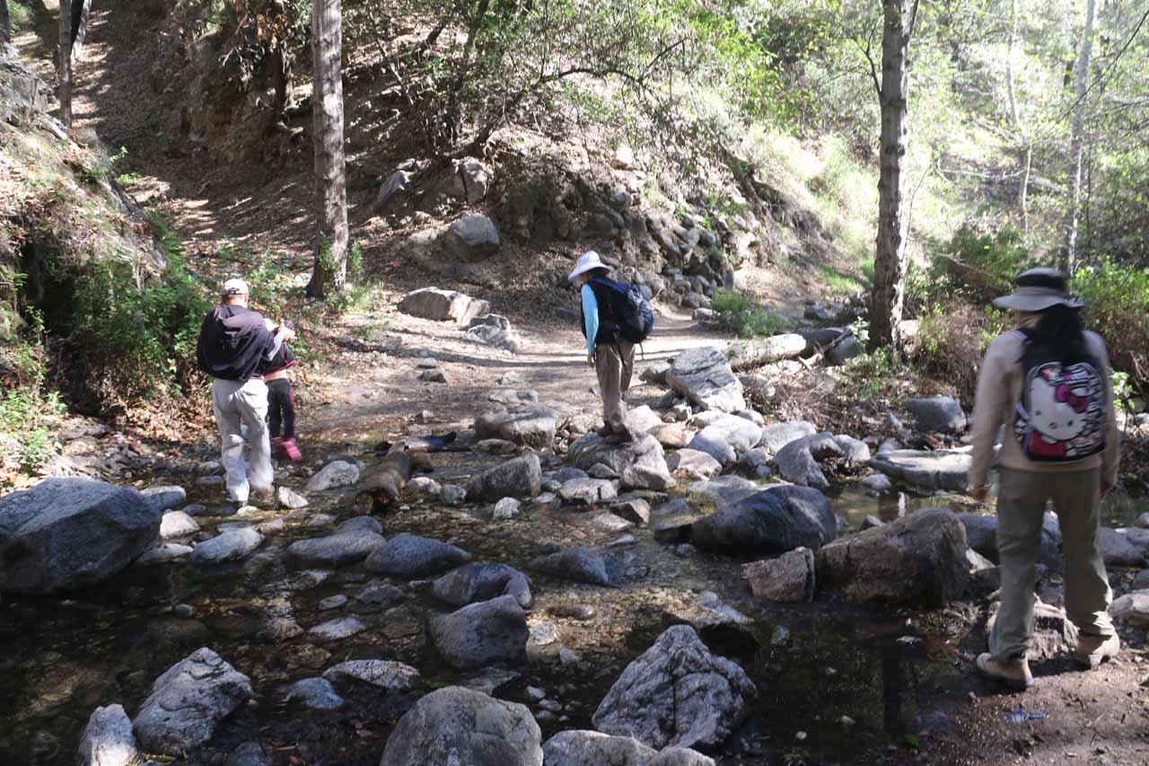 Going back across the familiar creek crossings