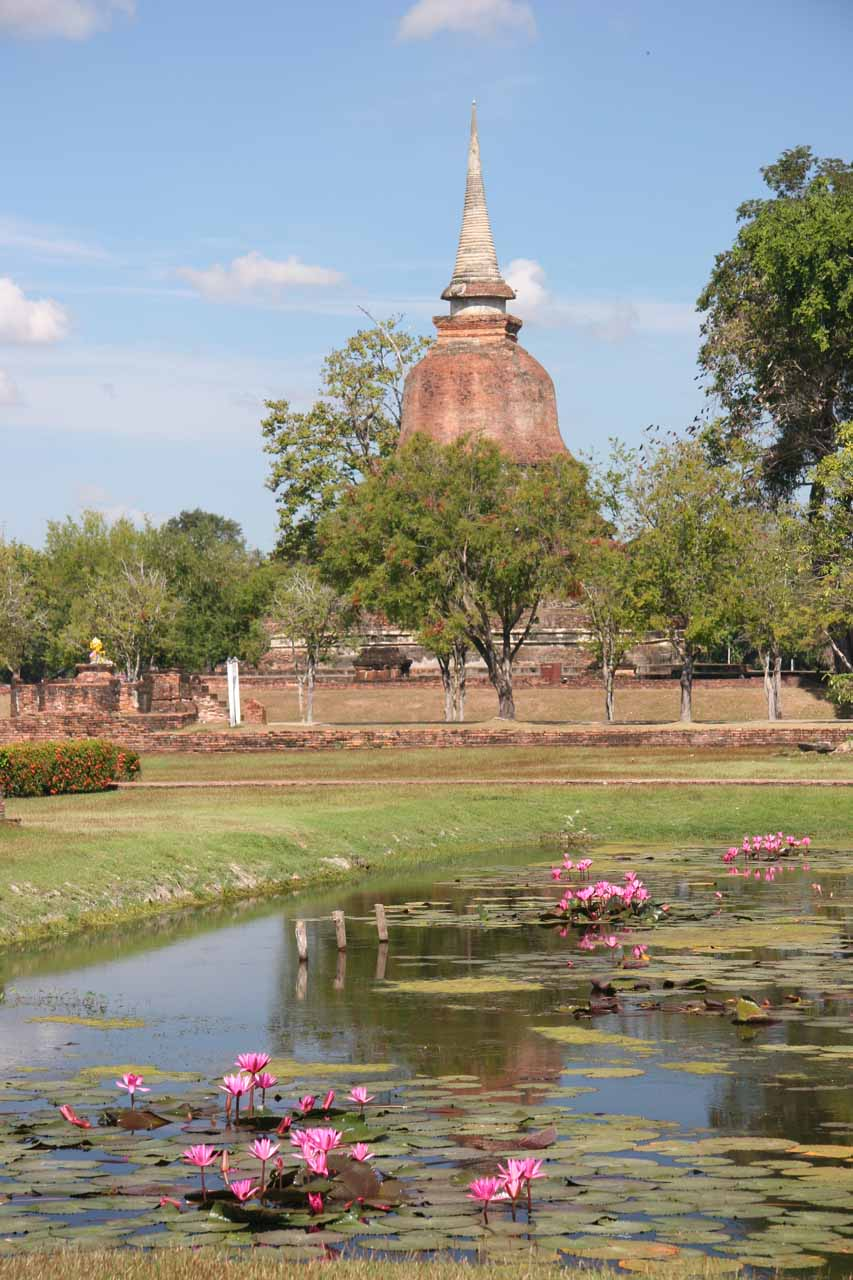 More ponds fronting chedis at Sukhothai Historical Park