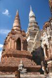 Sukhothai_109_12312008 - Attractive look up at some sharp chedis at Sukhothai Historical Park
