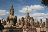 Sukhothai_129_12312008 - Buddhas and chedis at Sukhothai Historical Park