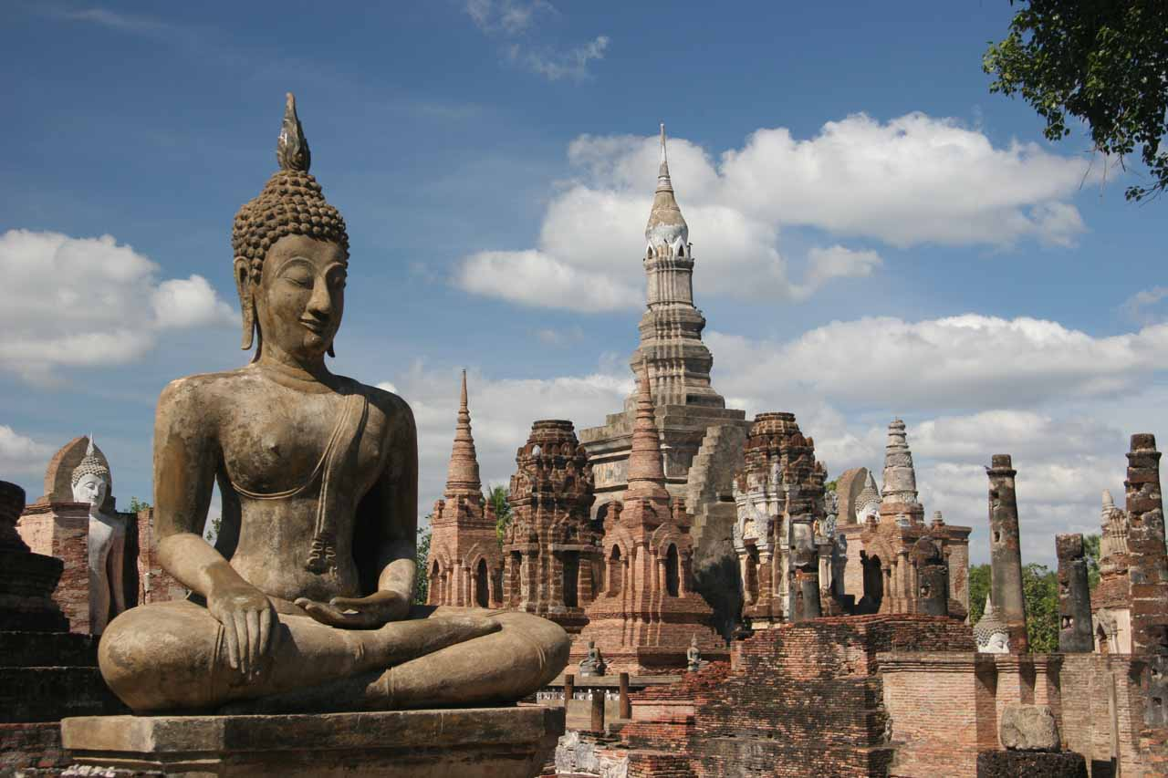 Buddhas and chedis at Sukhothai Historical Park