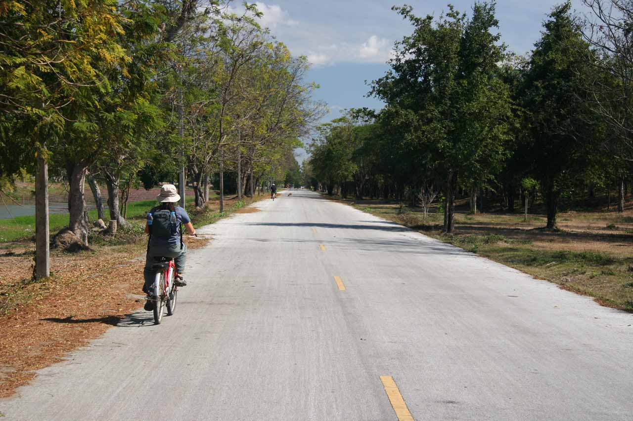 Riding bicycles through Sukhothai Historical Park