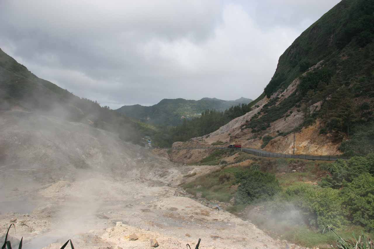 Nearby Soufriere town was the Sulfur Springs, which was a dramatic example of active volcanism going on in this part of the island, which Diamond Falls' colors attested to