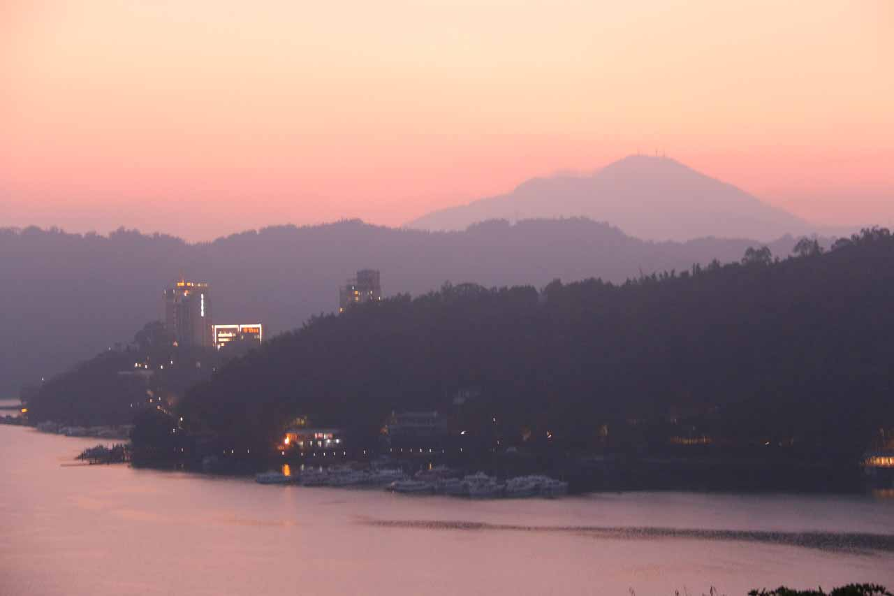 Sunset over Sun Moon Lake in the geographical heart of Taiwan