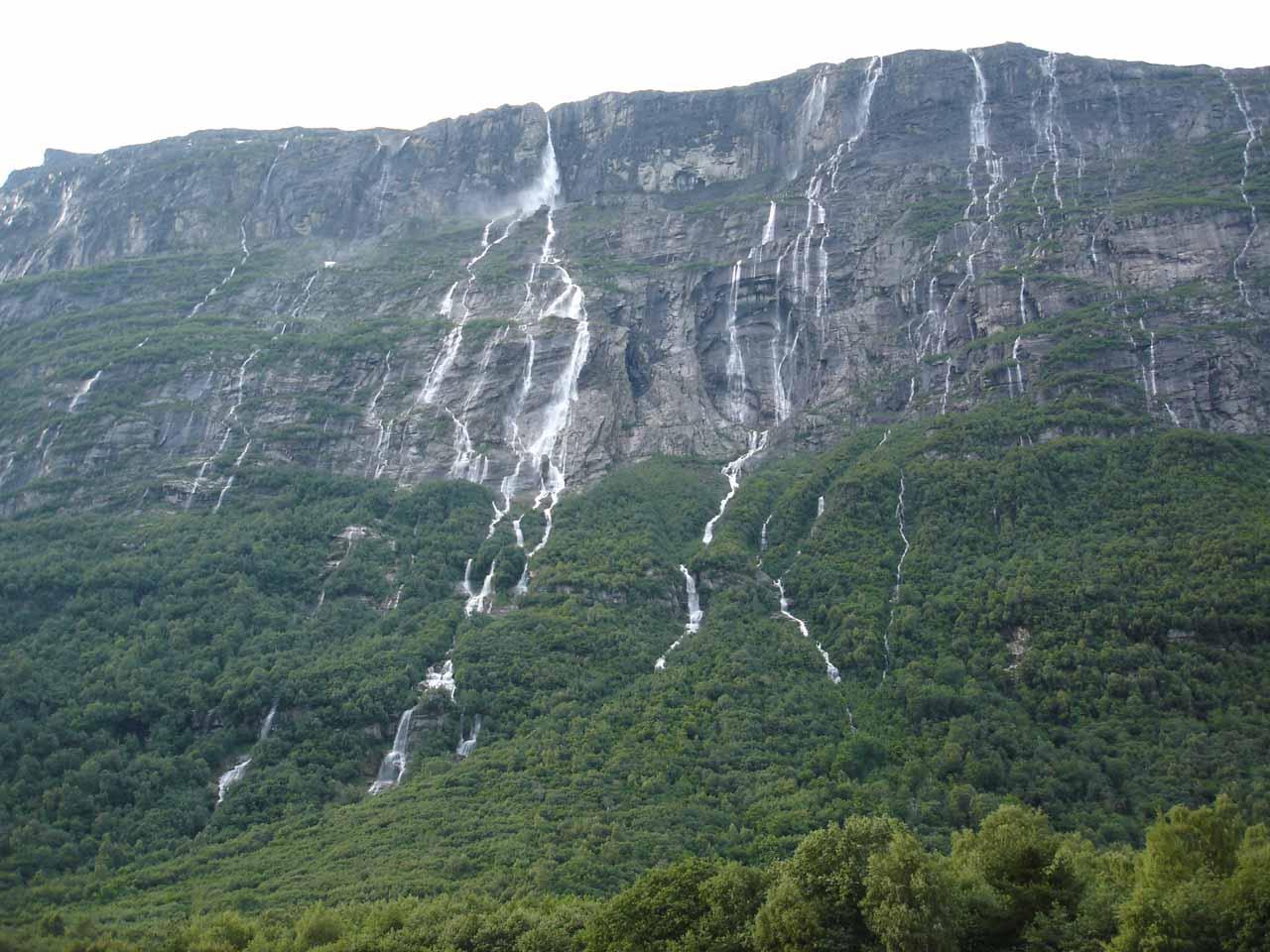 Vinnufossen along with other waterfalls tumbling alongside it