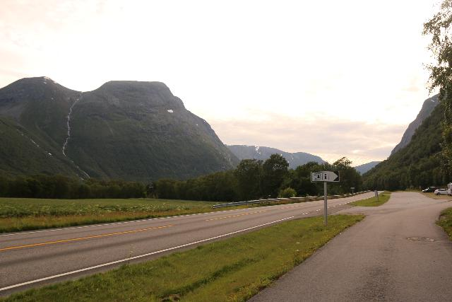 Sunndalen_021_07162019 - Looking back towards the Holskeidet Rasteplass nearest to Vinnufossen with some waterfalls on the other side of the valley across the Rv70