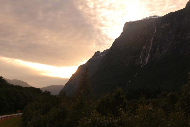 Sunndalen_101_07162019 - Looking towards Vinnufossen with the sun setting behind the massif supporting both the falls and the Vinnubreen Glacier