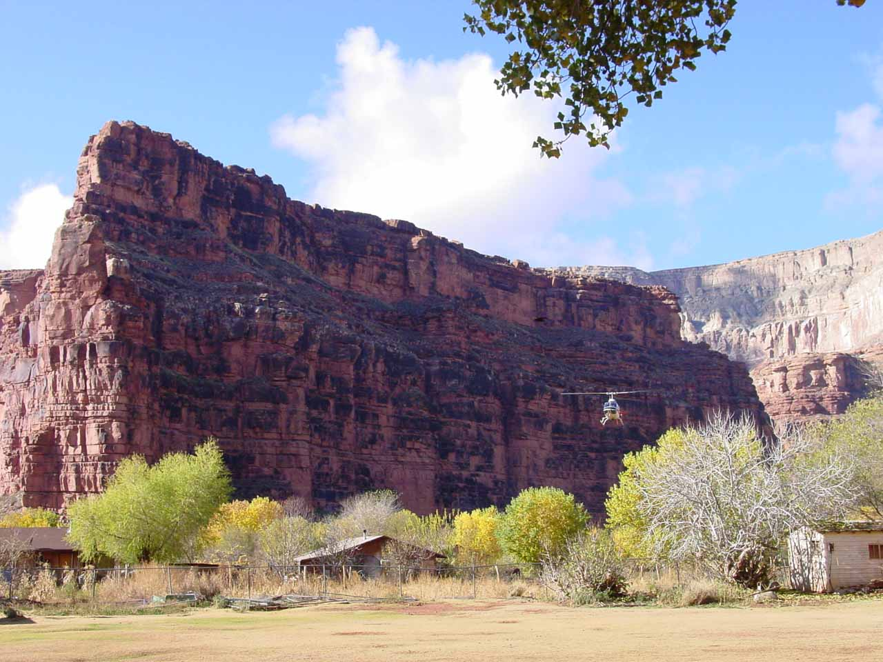 Helicopter about to land in Supai Village