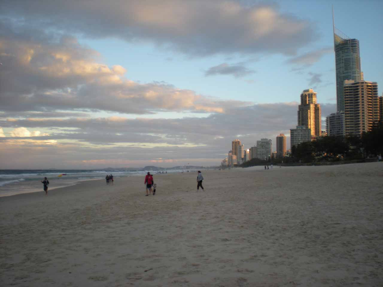 On the beach in the late afternoon at Surfer's Paradise