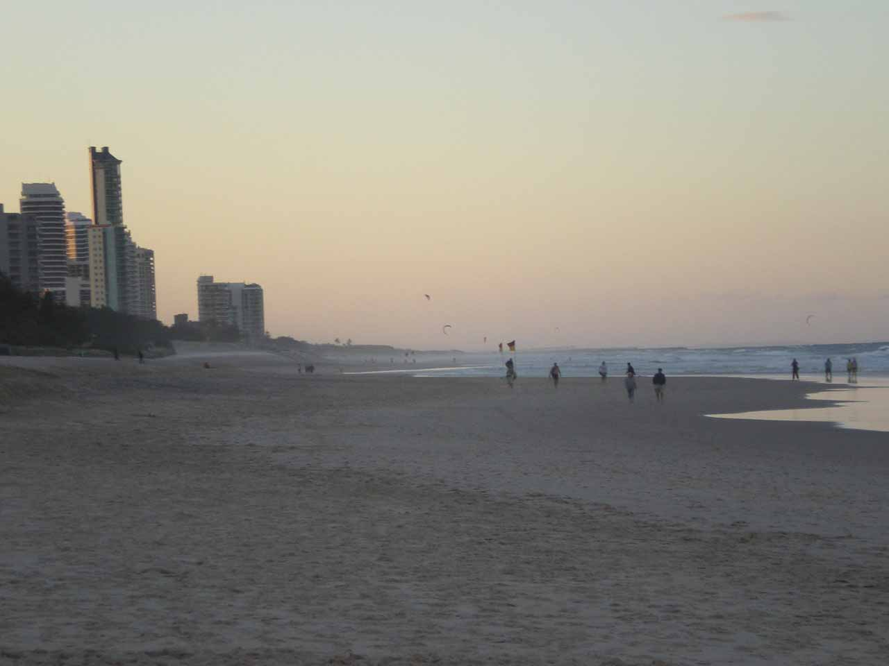 Looking north along the beach at Surfer's Paradise
