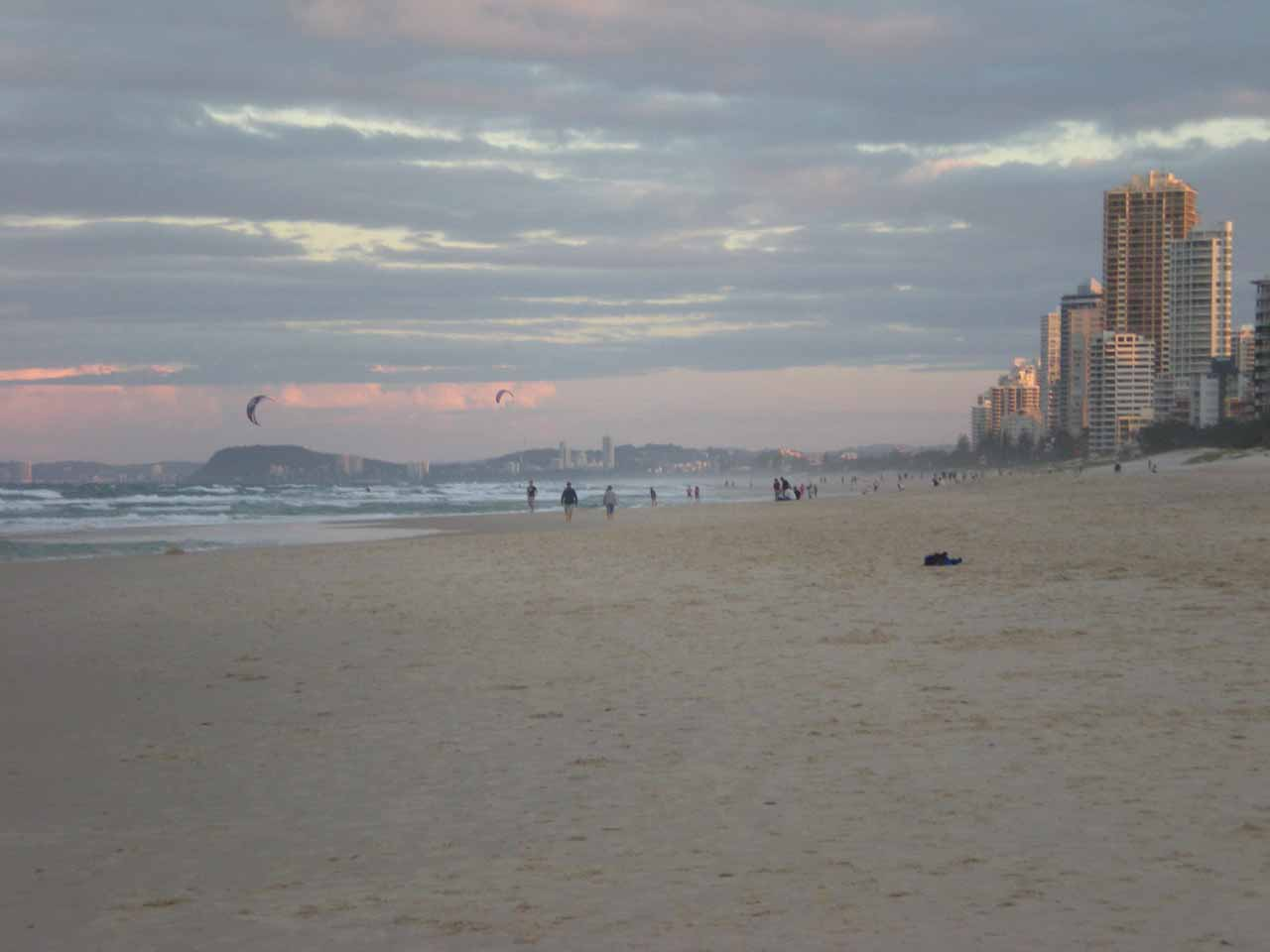Looking south along the beach at Surfer's Paradise