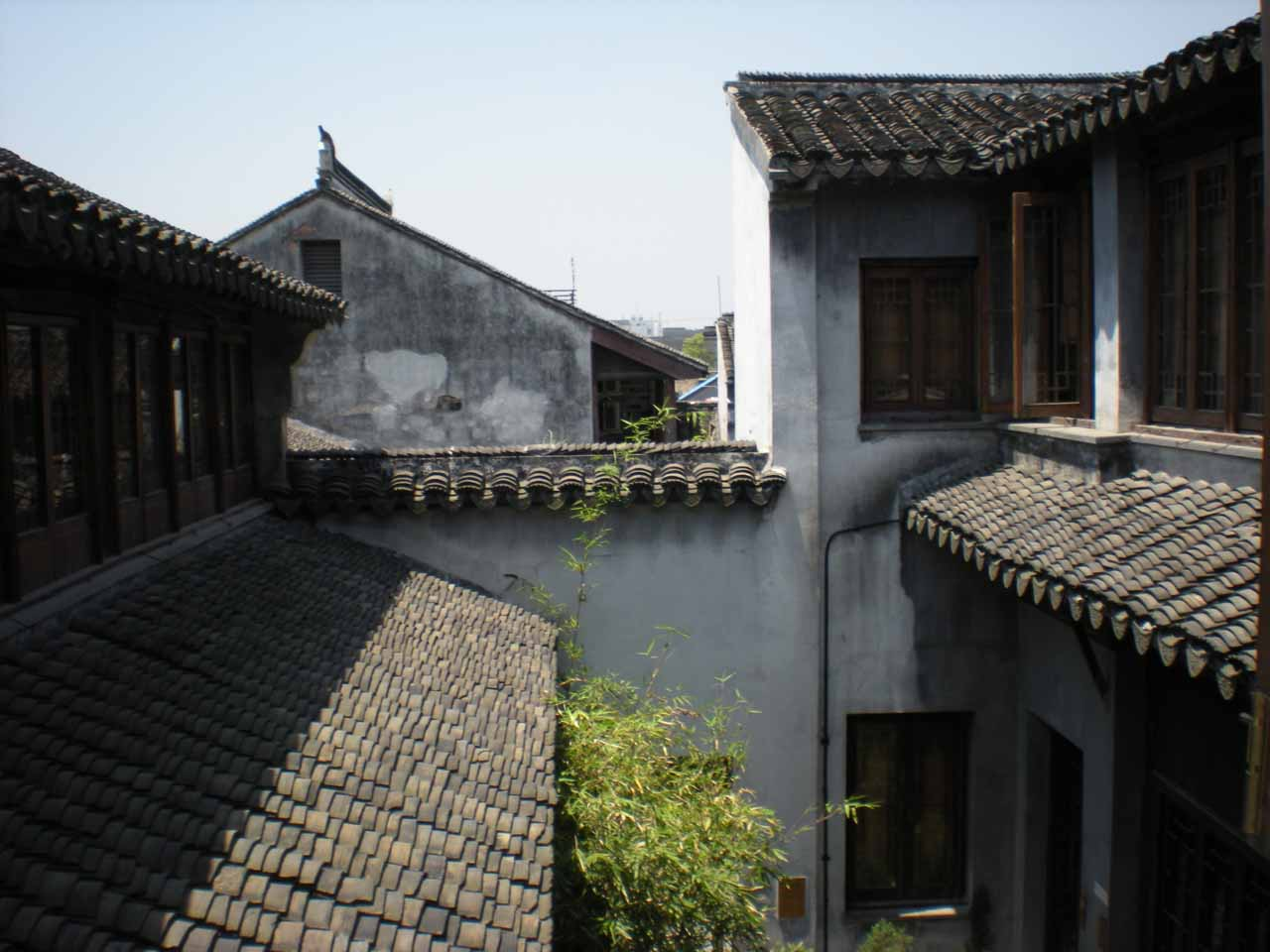 Looking at roofs within our lodging area at Suzhou
