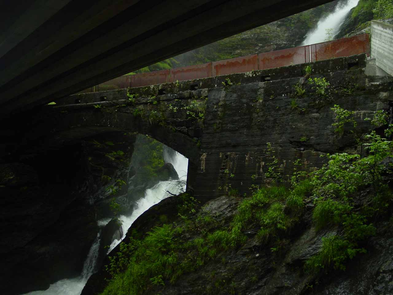 Looking up at Svandalsfossen from underneath the Rv520 road bridge