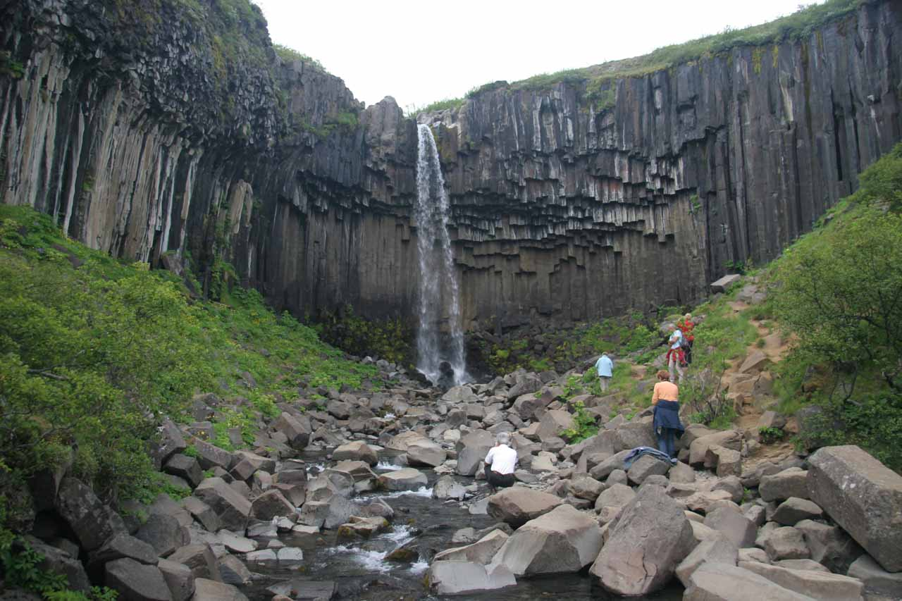 When we first made it to Svartifoss, there were quite a few people here