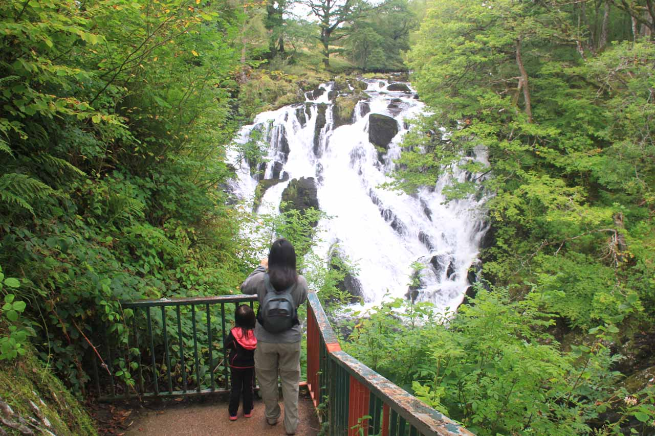 Julie and Tahia checking out Swallow Falls from the lookout just below the uppermost one