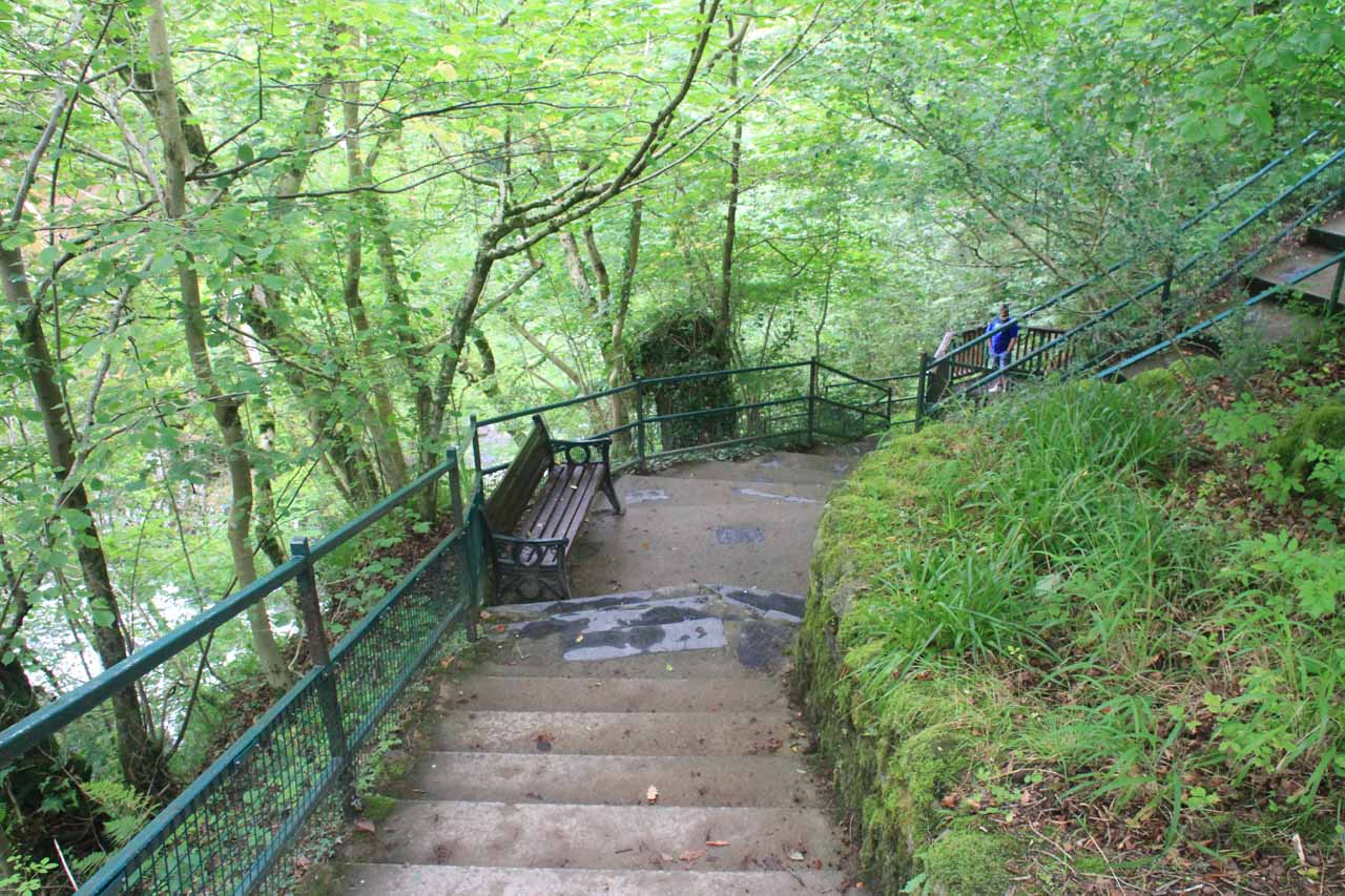 The steps leading down to a lower lookout point