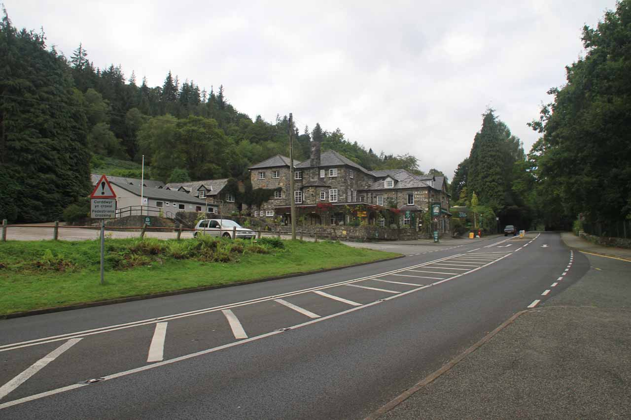 Looking across the A5 road towards the Swallow Falls Hotel