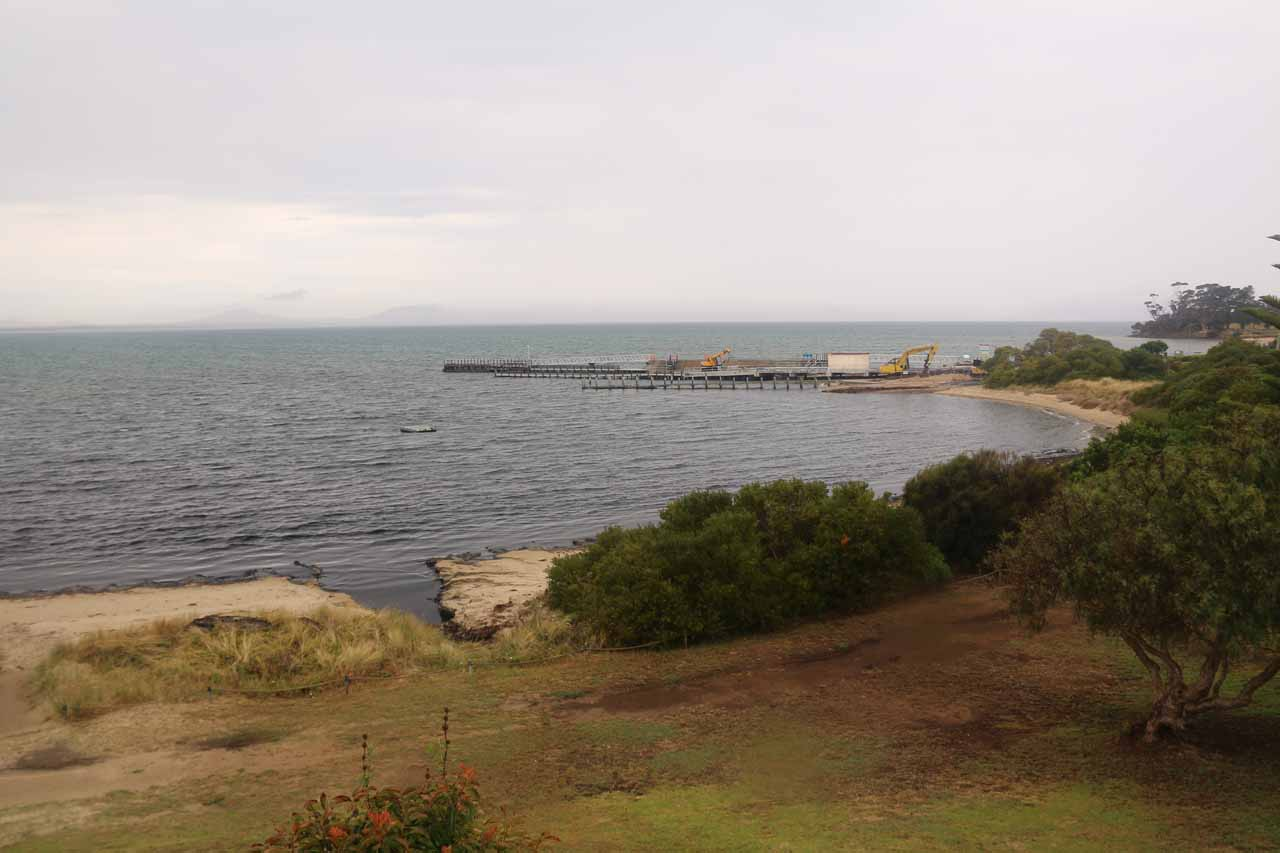 On our second visit to Lost Falls, we drove from Launceston to Hobart, but we made a late lunch stop in Swansea, which would otherwise be a scenic town if not for the bad weather