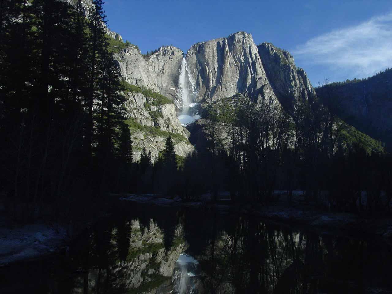 Swinging Bridge view of Yosemite Falls in the Winter