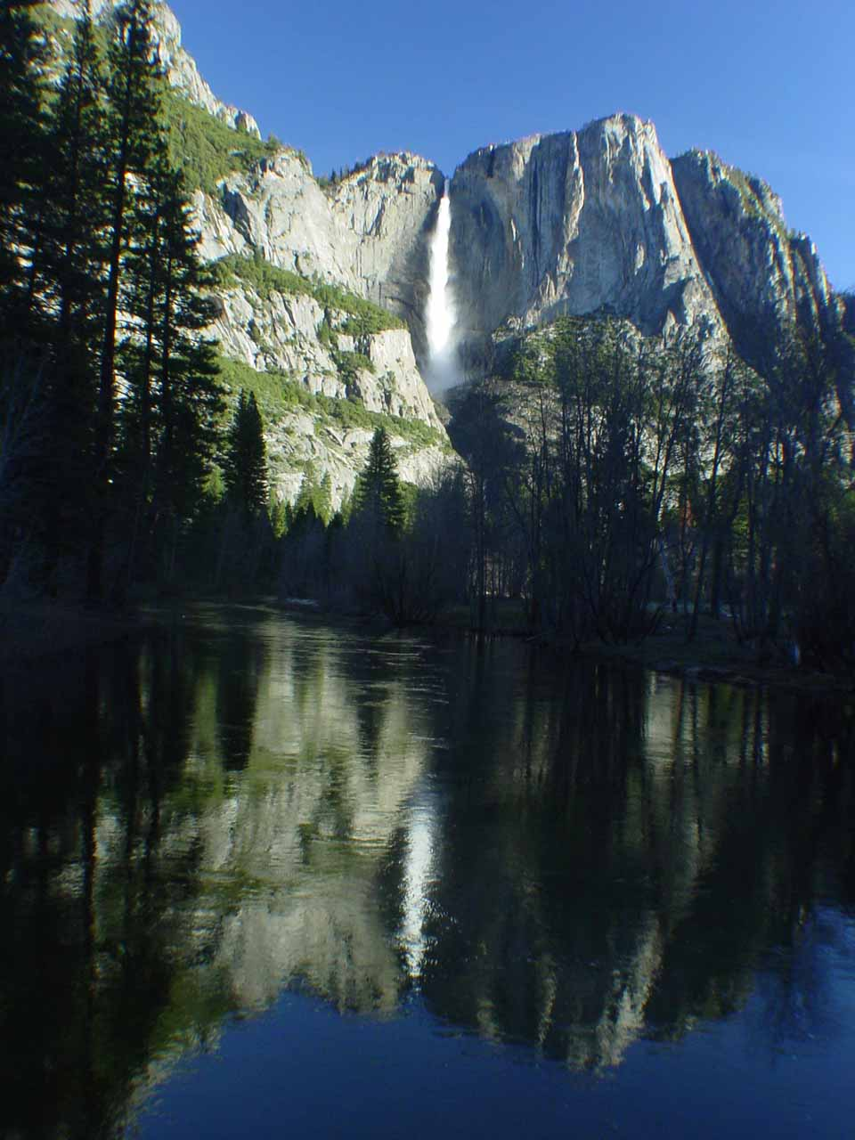 Yosemite Falls reflected in the shadowy foreground of the Merced River
