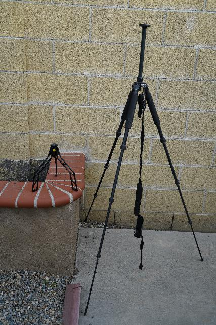 The size difference between the SwitchPod (left) and the Giottos tripod (right)