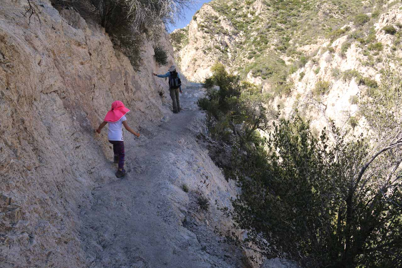 Julie and Tahia carefully negotiating the narrow parts of the main trail on the ascent