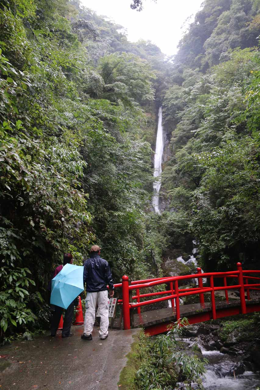 Mom and Dad checking out the Syasui Waterfall from the red footbridge