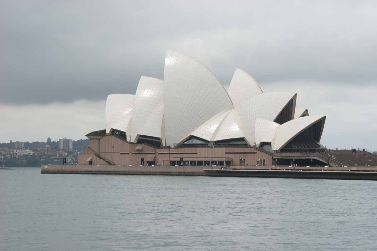 A couple hours drive to the east of Katoomba in the Blue Mountains was the city of Sydney, where we got this conventional view of the Sydney Opera House under cloudy skies
