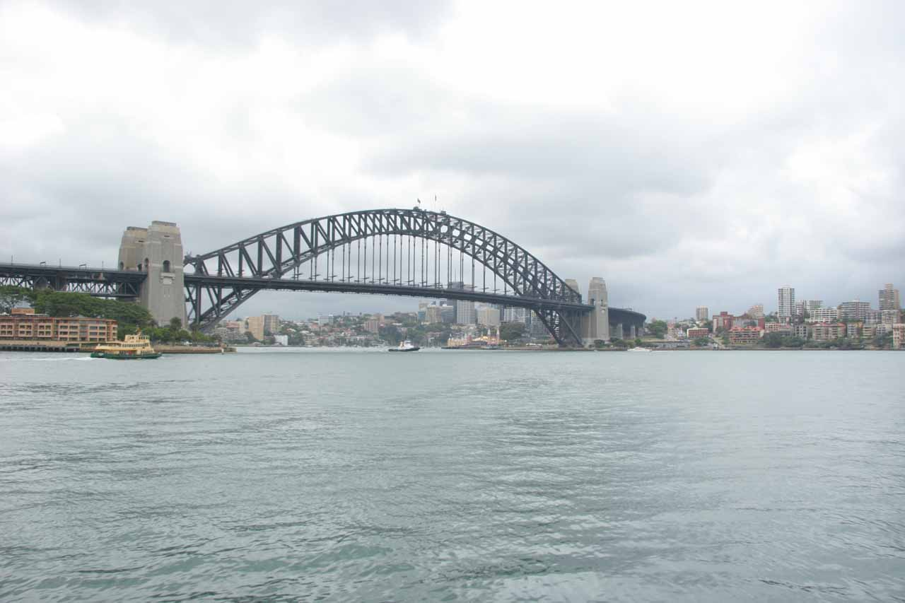 Direct view of the Sydney Harbour Bridge from close to the Sydney Opera House
