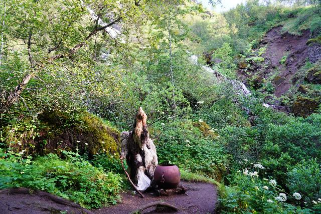 Systrafoss_041_08072021 - This was an interesting avatar of a troll or sorceror made of primarily wool skin with a cauldron before Systrafoss and after the Stóri Steinn, which was a rock with a natural bridge at its bottom
