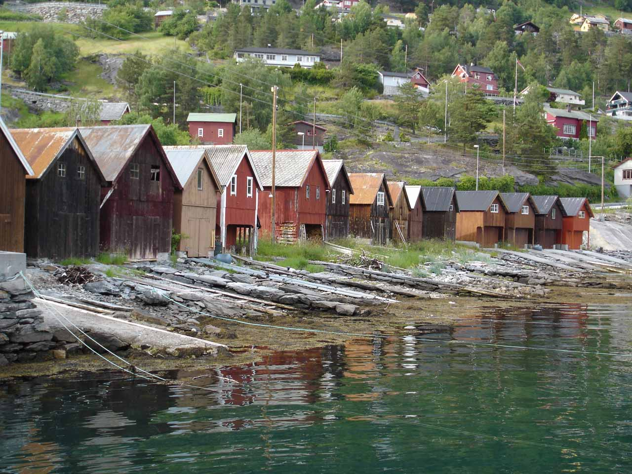 While driving along the local road 92 along Tafjorden to the trailhead for Muldalsfossen, we saw these beautiful Norwegian homes right on the waterfront