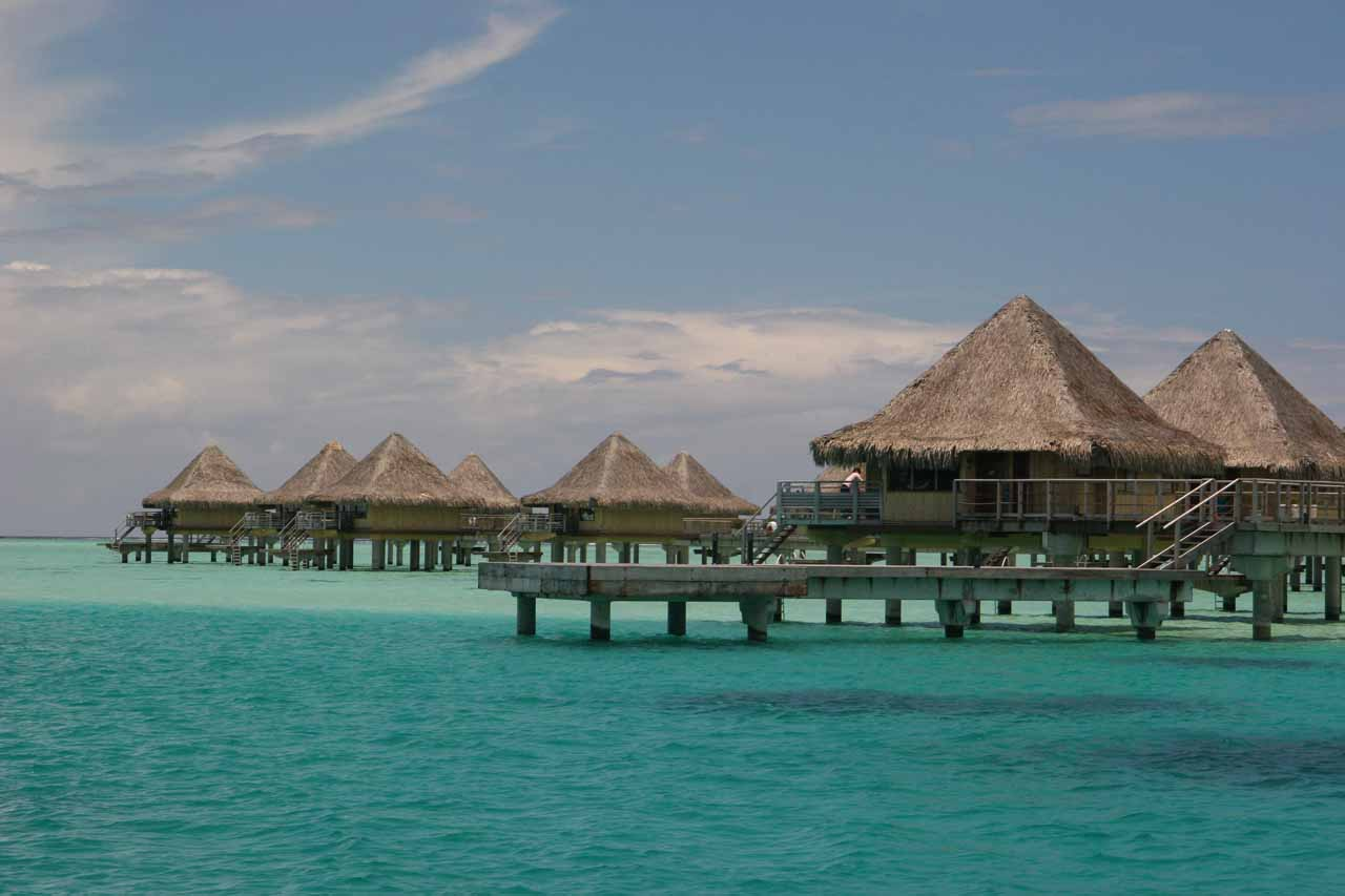 Most people visiting Tahiti fly into Papeete, then immediately catch a flight out to Bora Bora or Moorea. Shown here are signature overwater bungalows in Bora Bora