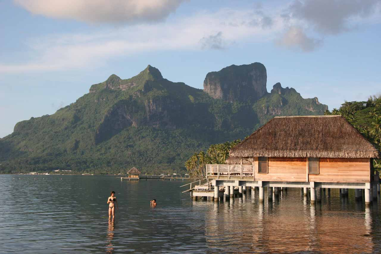 Overwater Bungalows and Mt Otemanu during Bora Bora's wet season