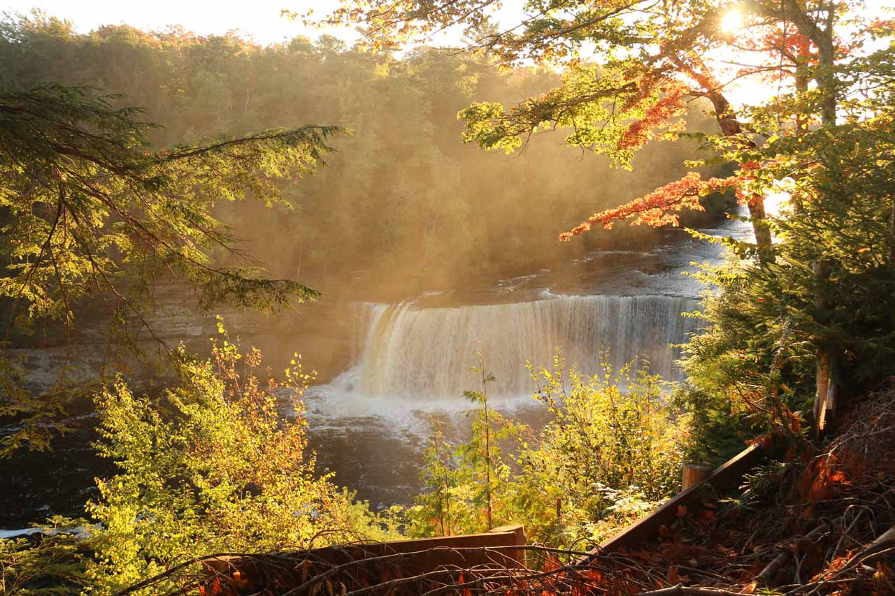 Our first look down at the Upper Tahquamenon Falls against the late afternoon sun