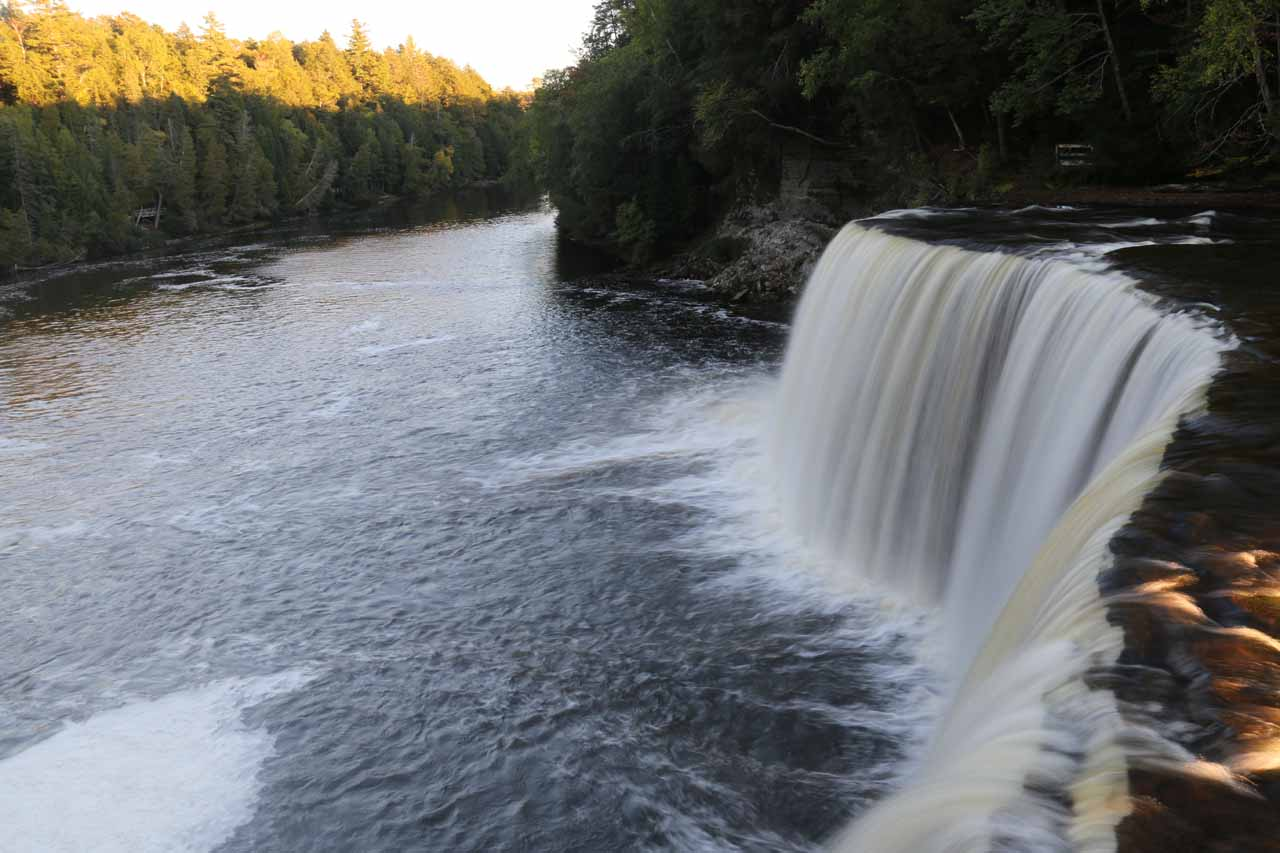 View across the brink of the Upper Tahquamenon Falls towards the Tahquamenon River and Gorge further downstream