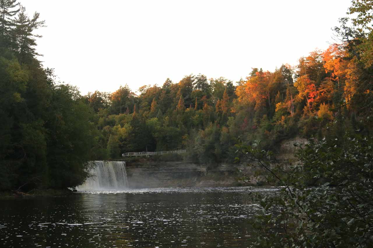 Within the base of the gorge for the Upper Tahquamenon Falls